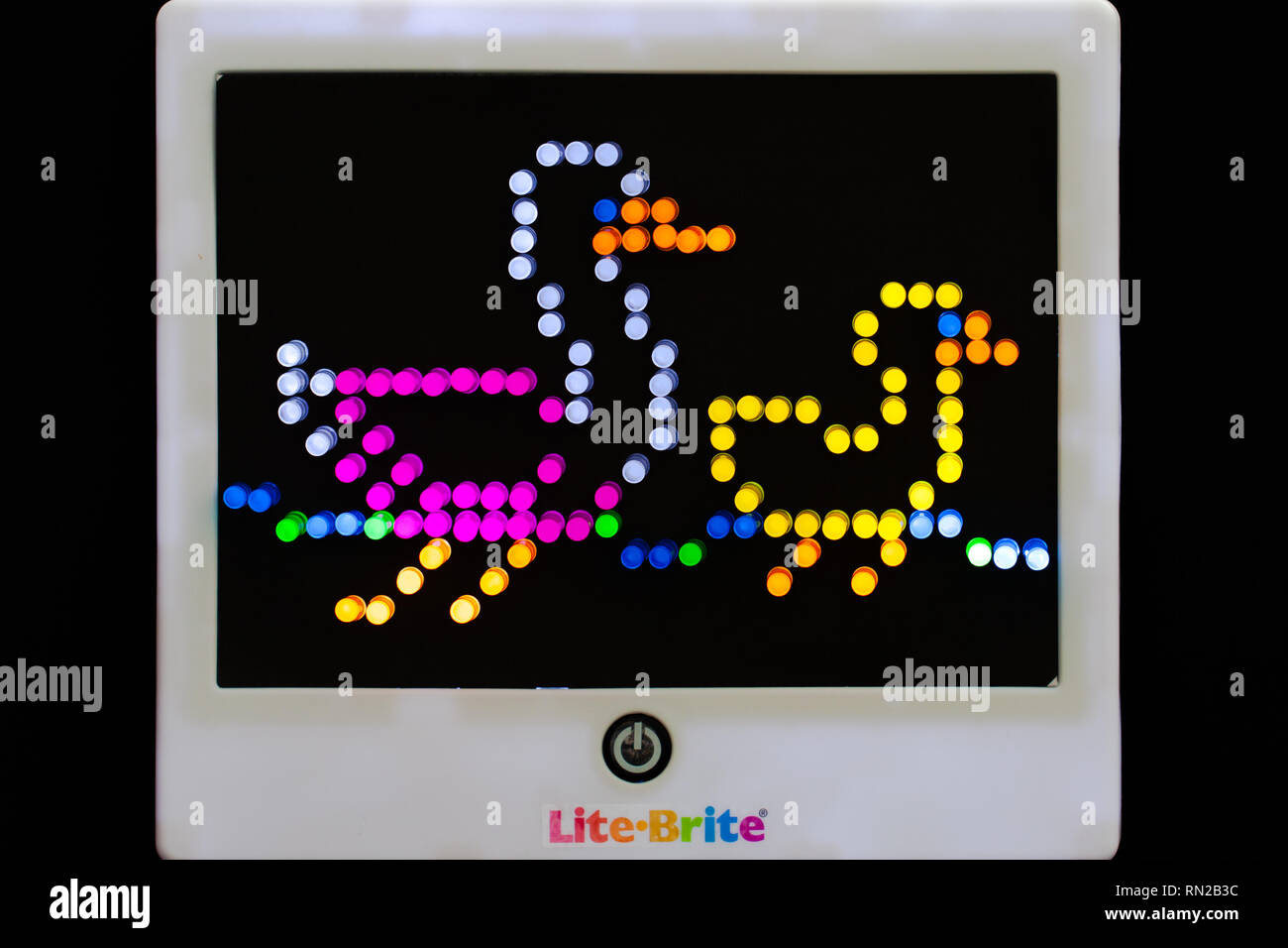 Lite-Brite image of mother duck and duckling - Stock Image