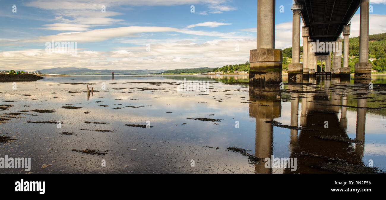 The A9 Kessock Road Bridge crosses the Beauly Firth, an estuarine inlet of the North Sea at Inverness in the Highlands of Scotland. - Stock Image
