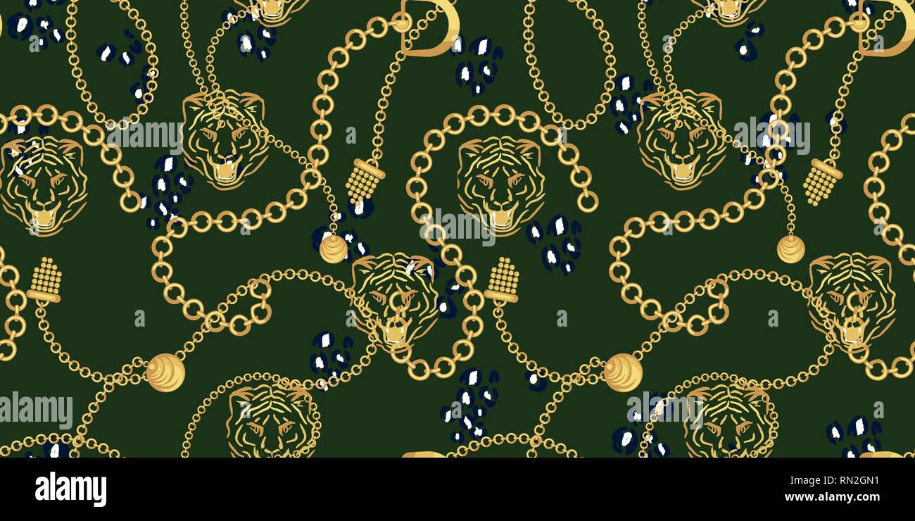 Tiger head and gold chains green pattern fashion wild vector design. Jewelry pendants accessories seamless print with animal skin texture for scarves, - Stock Vector