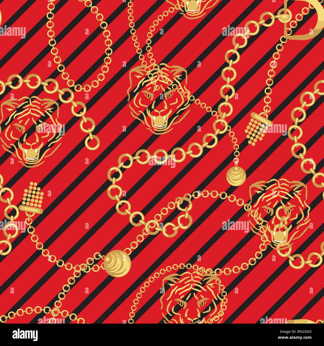 Tiger head and gold chains striped red pattern fashion wild vector design. Jewelry pendants accessories seamless print with animal skin texture for sc - Stock Vector