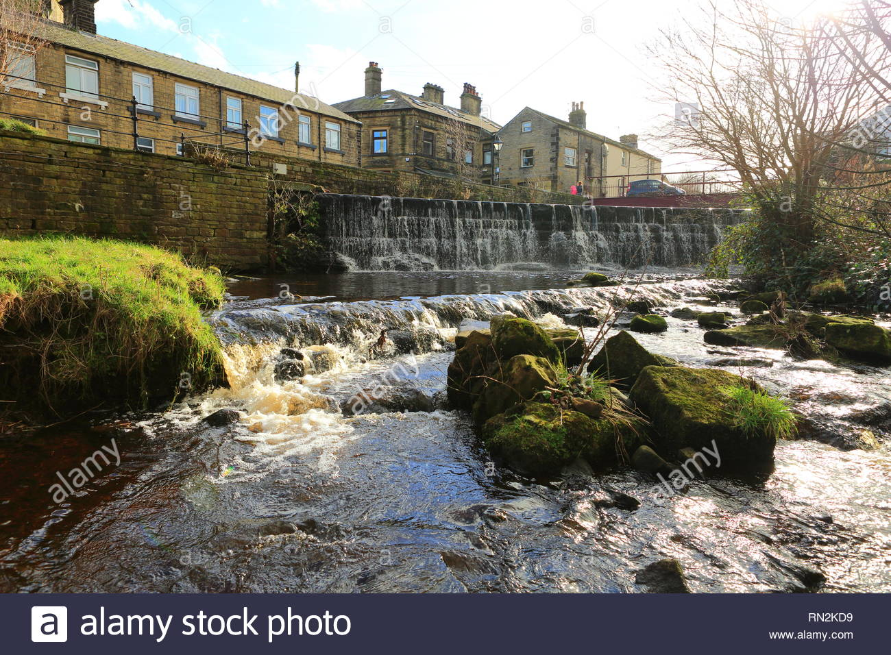 The overspill on the River Colne at Marsden UK - Stock Image