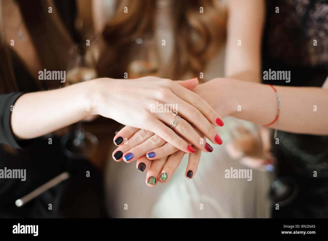 Join Hands Cancer Campaign Care Charity Union Concept. Stock Photo