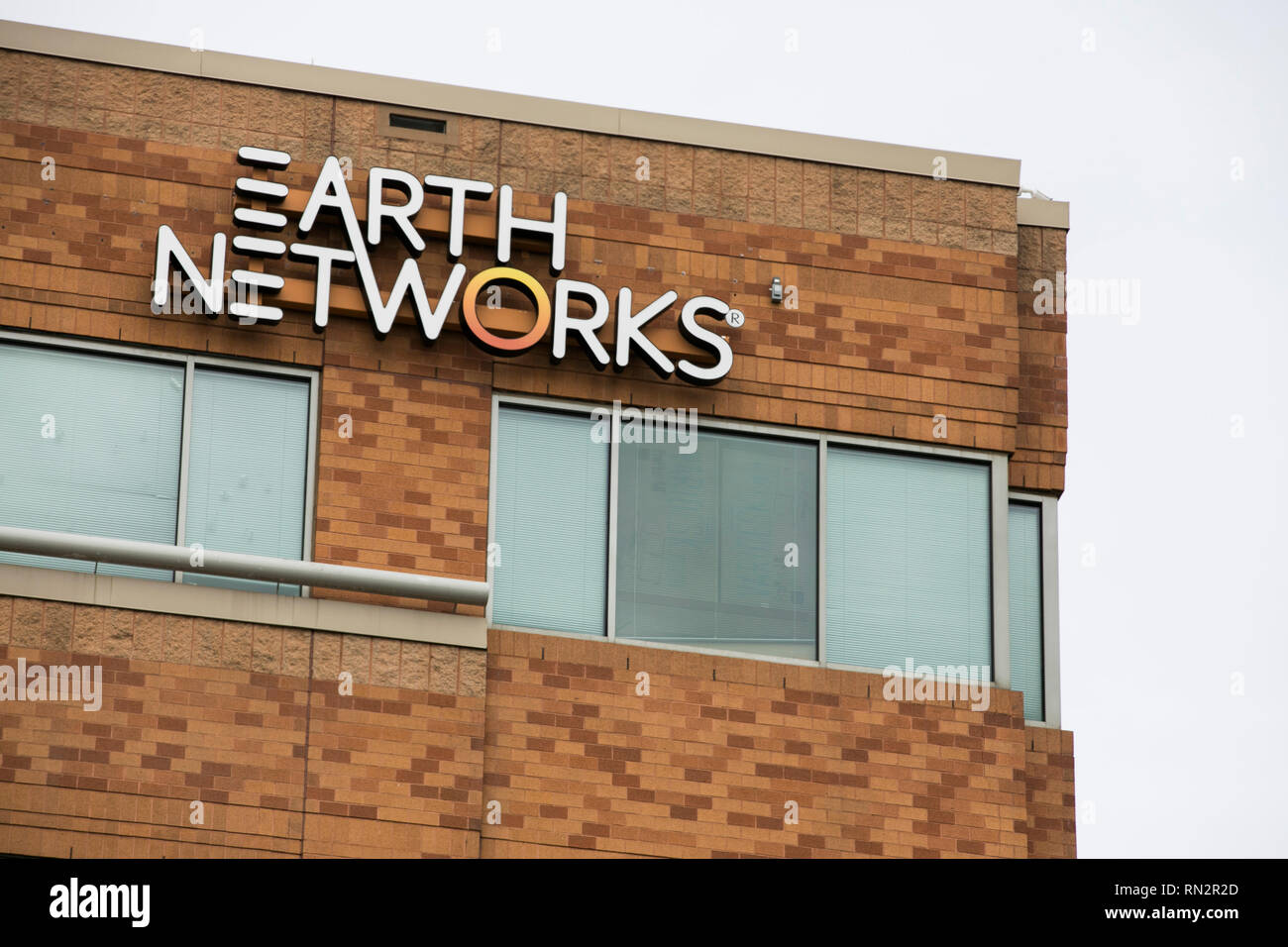 A logo sign outside of the headquarters of Earth Networks in Germantown, Maryland on February 10, 2019. - Stock Image