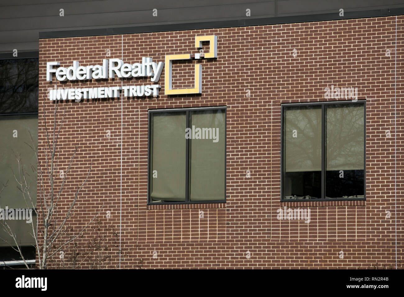 A logo sign outside of the headquarters of Federal Realty