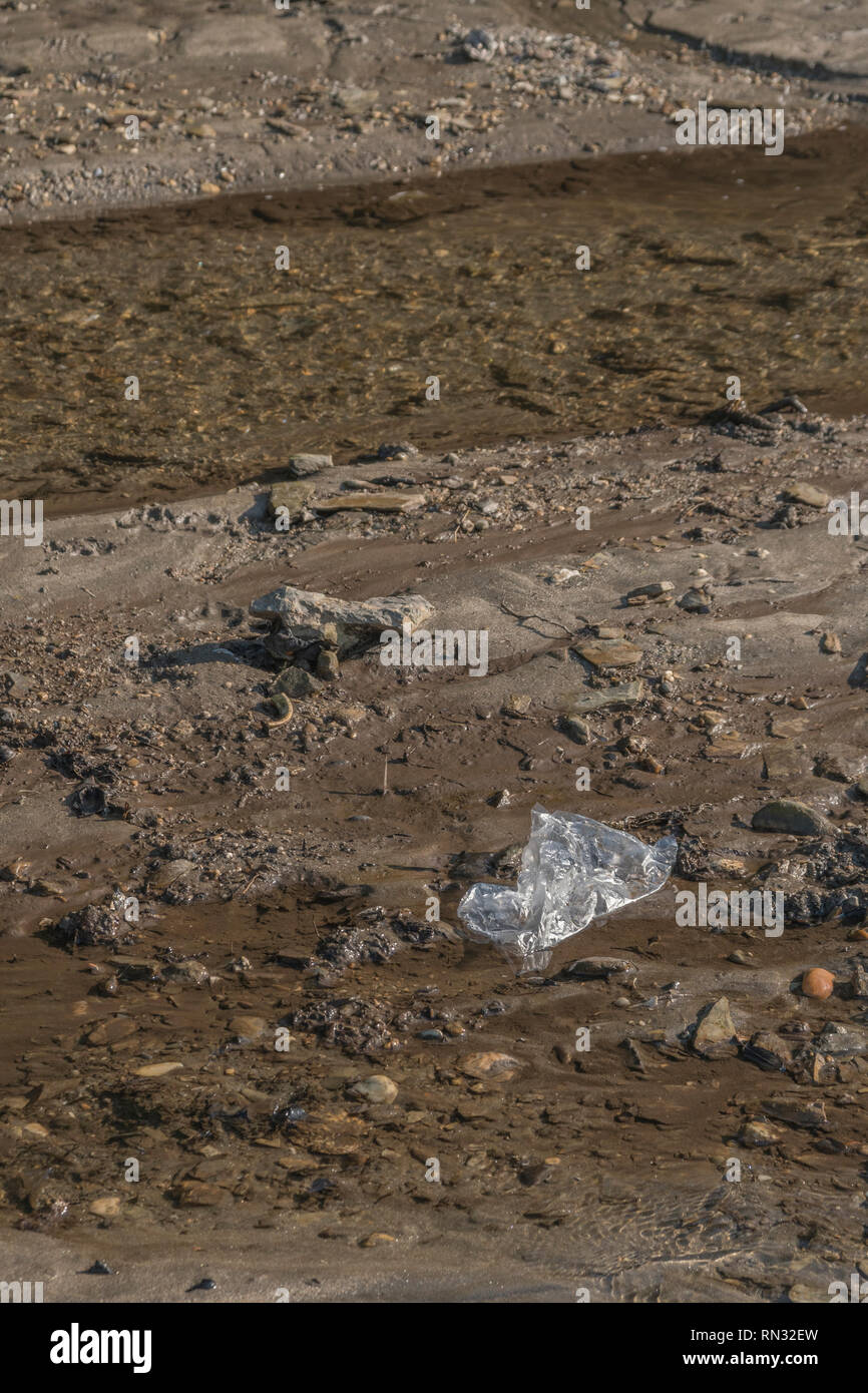 Plastic bag stranded in a coastal freshwater rivulet. Metaphor 'war on plastic', plastic waste, plastic rubbish in the UK. - Stock Image
