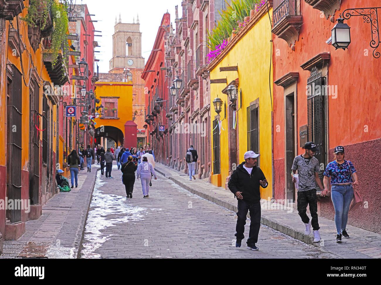 Relox street, San Miguel de Allende, Mexico - Stock Image