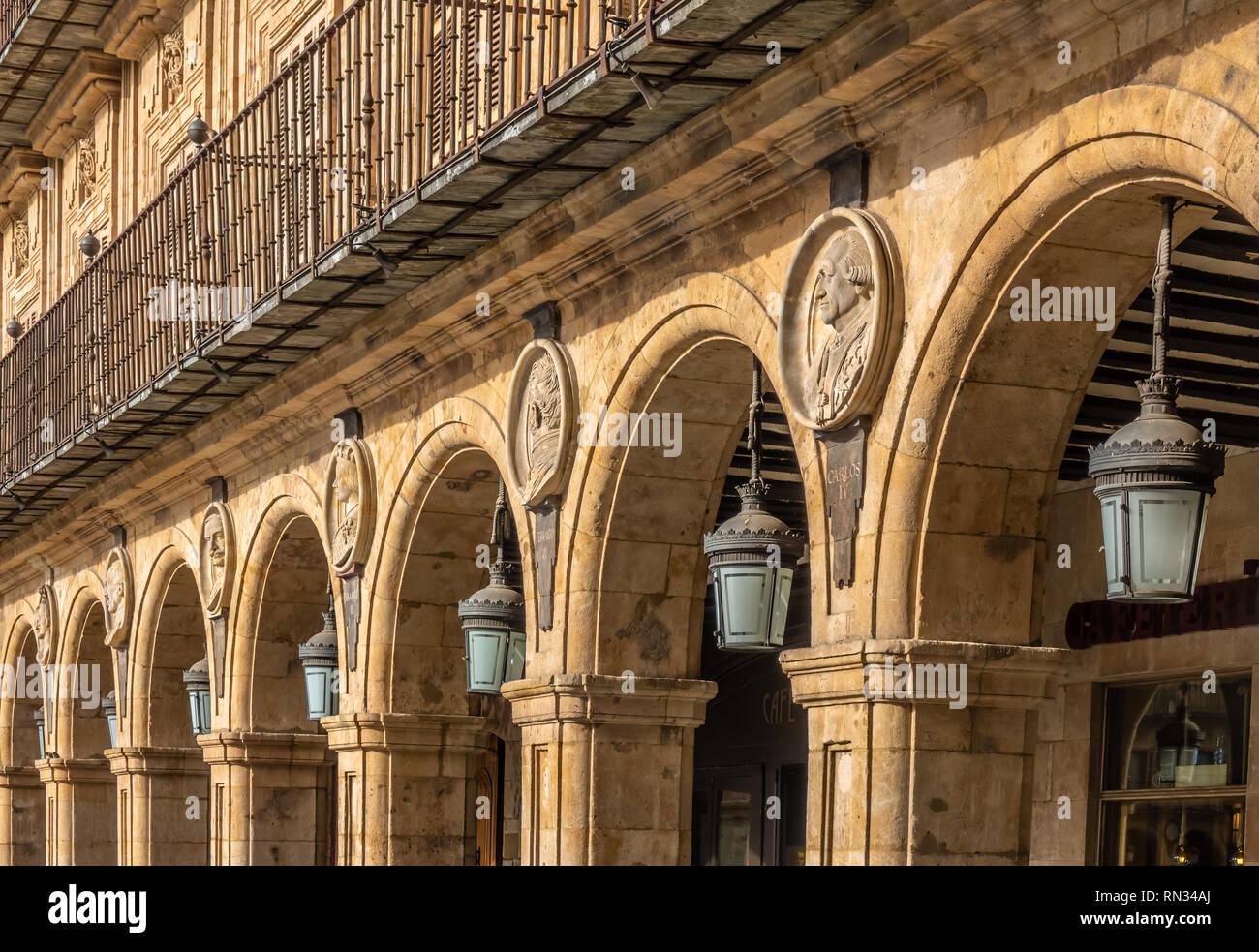 The Plaza Mayor, Salamanca, Castile-Leon, Spain. A public square. built in the traditional Spanish baroque style and  a popular gathering area. One of Stock Photo