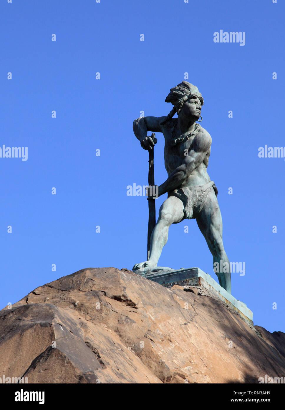 Chile, Santiago, Cerro Santa Lucia, statue of Caupolican, mapuche warrior, - Stock Image