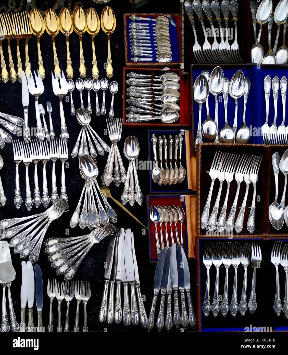 Old, vintage silver and german silver cutlery at the flea market, Ukraine, Kiev. Stock Photo