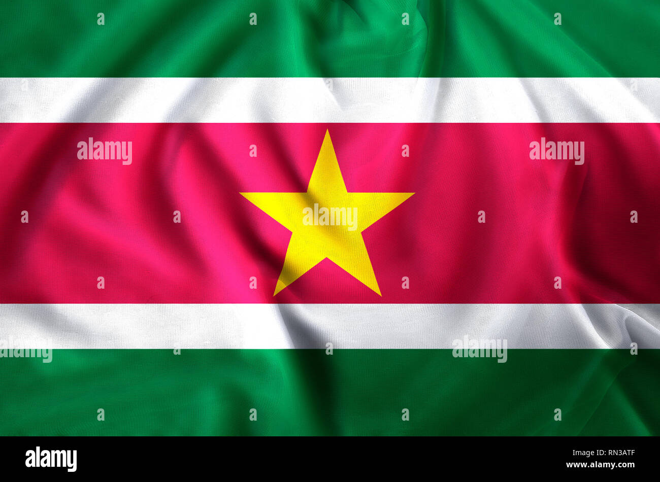 Suriname modern and realistic closeup flag illustration. Perfect for background or texture purposes. - Stock Image