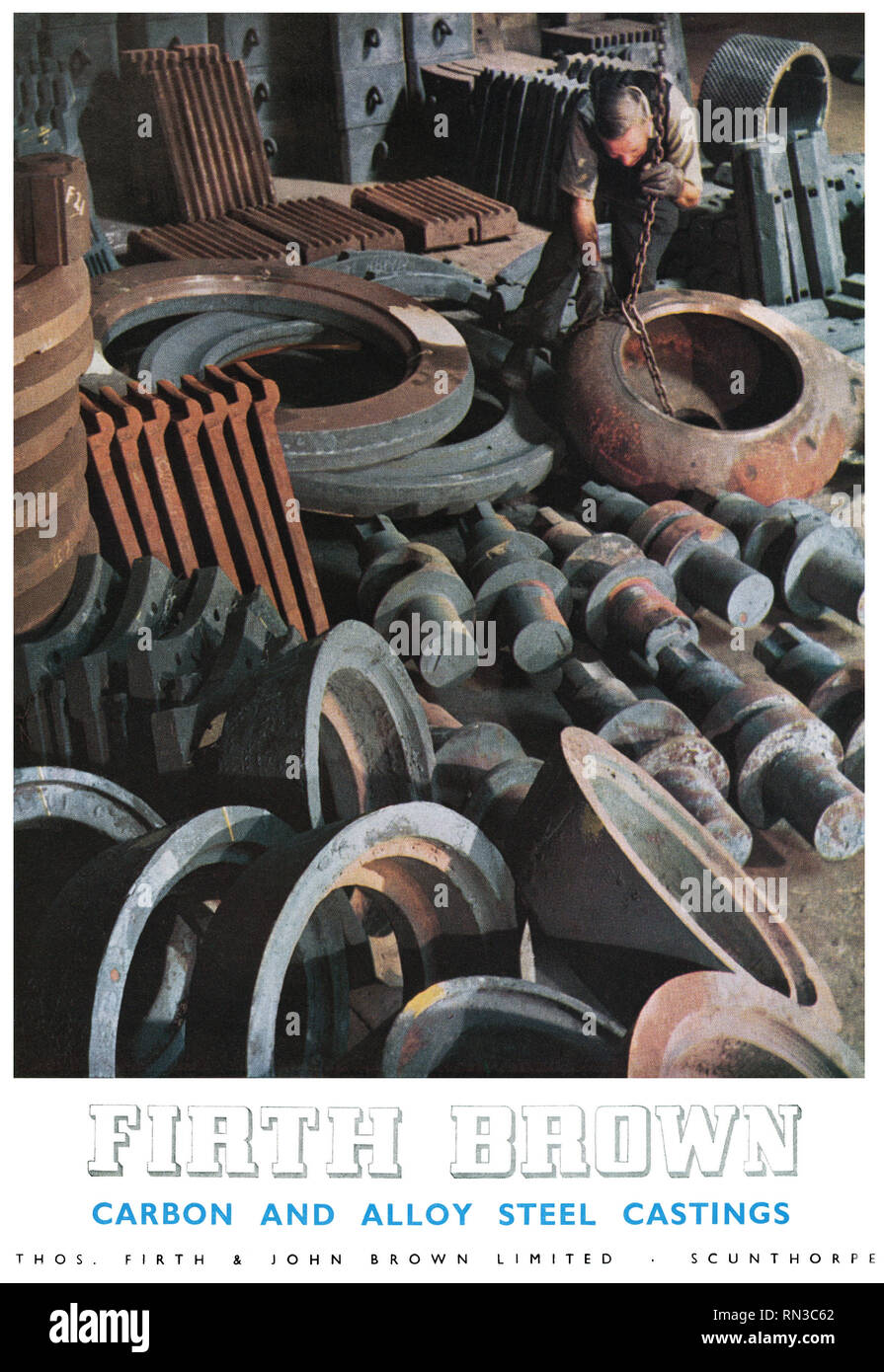 1954 British advertisement for Firth Brown carbon and alloy steel castings. - Stock Image