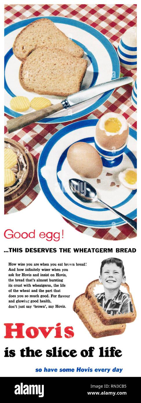 1957 British advertisement for Hovis bread. - Stock Image