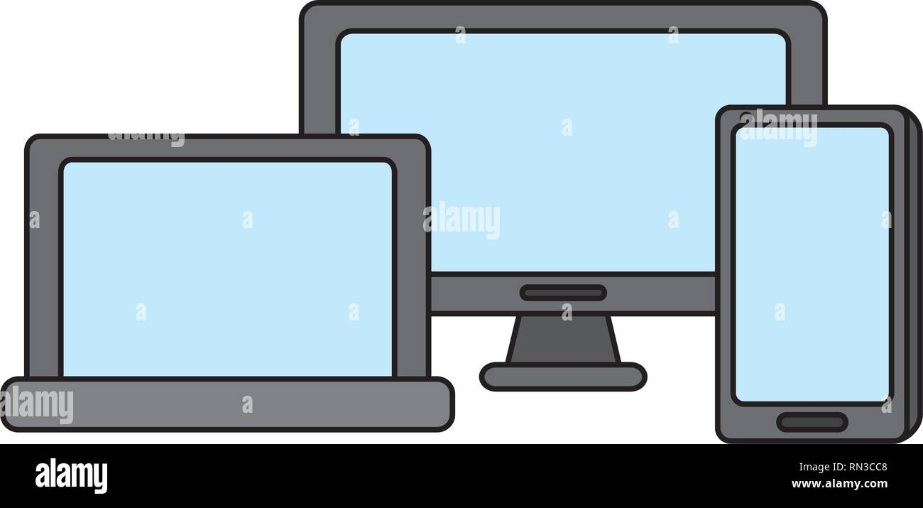 computer laptop cellphone gadgets - Stock Image