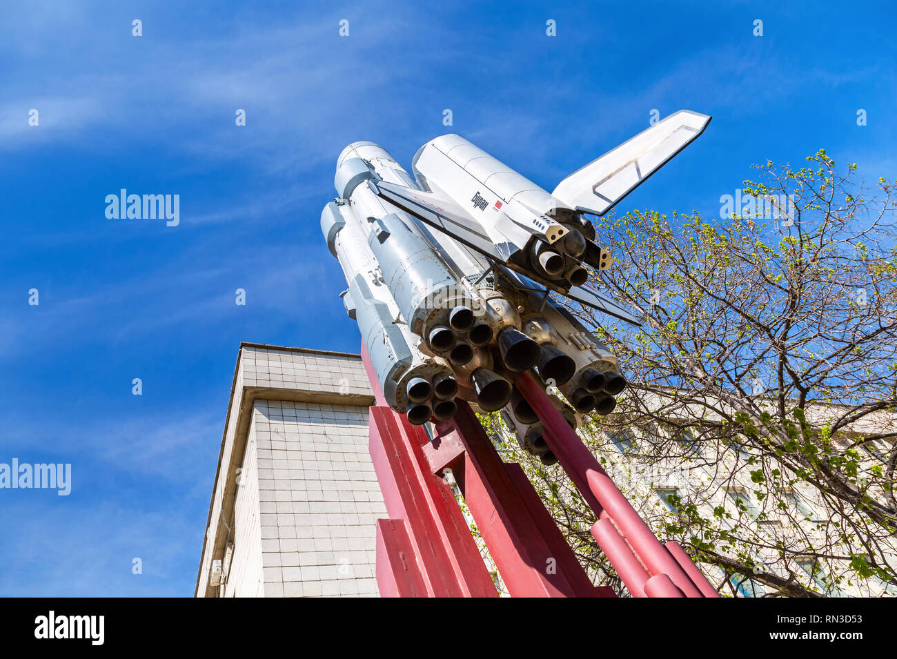 Samara, Russia - May 6, 2018: Copy of space shuttle Buran in sunny day. Buran orbiter is the first reusable manned space vehicle in Russia - Stock Image