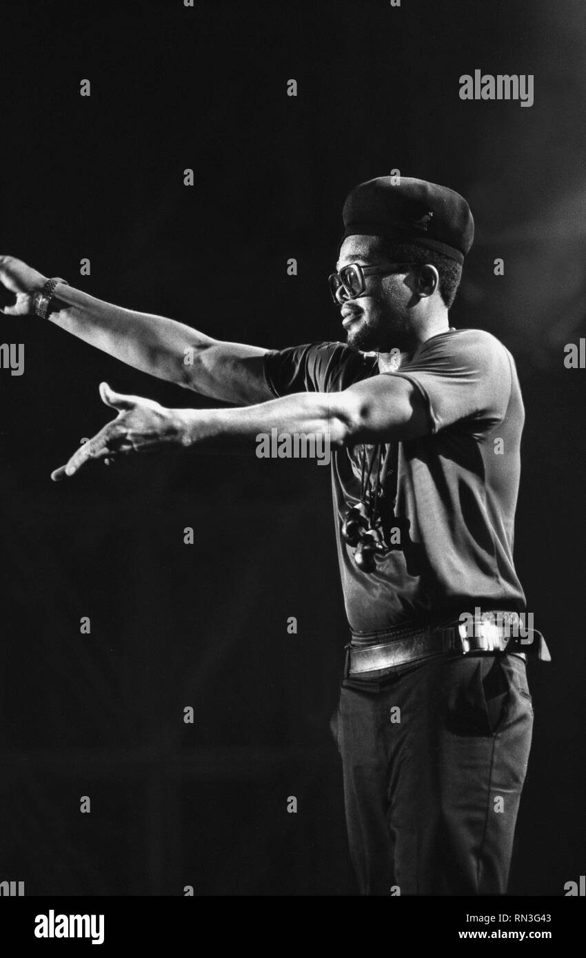 Musician Darryl 'D.M.C.'  McDaniels, one of the pioneers of hip hop culture, of Run DMC.is shown performing on stage during a 'live' concert appearance. - Stock Image