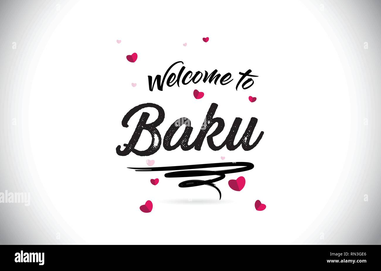 Baku Welcome To Word Text with Handwritten Font and Pink Heart Shape Design Vector Illustration. - Stock Vector
