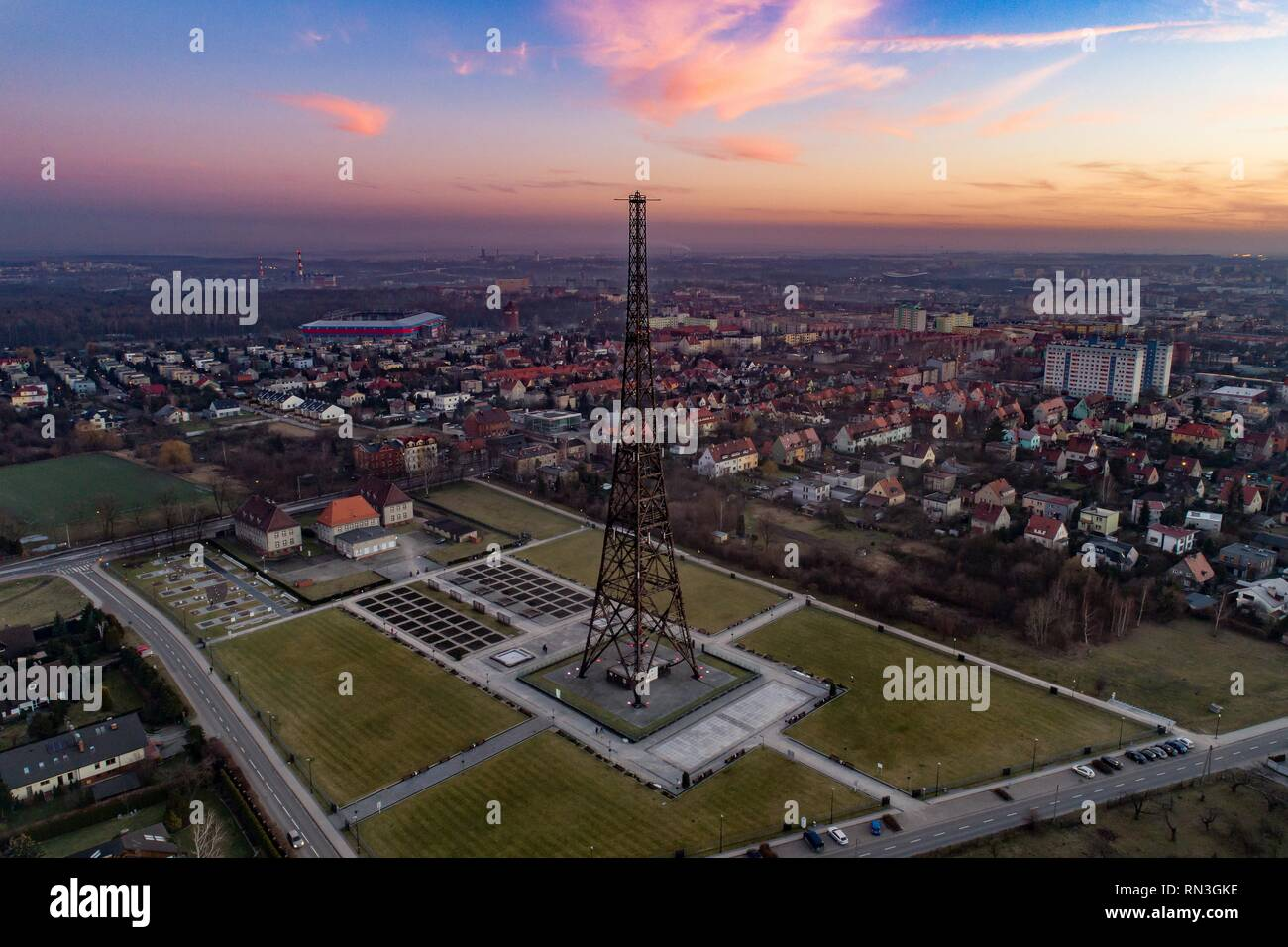 Wooden radio tower in Gliwice, Silesia, Poland. The tower is the tallest wooden structure in Europe - Stock Image