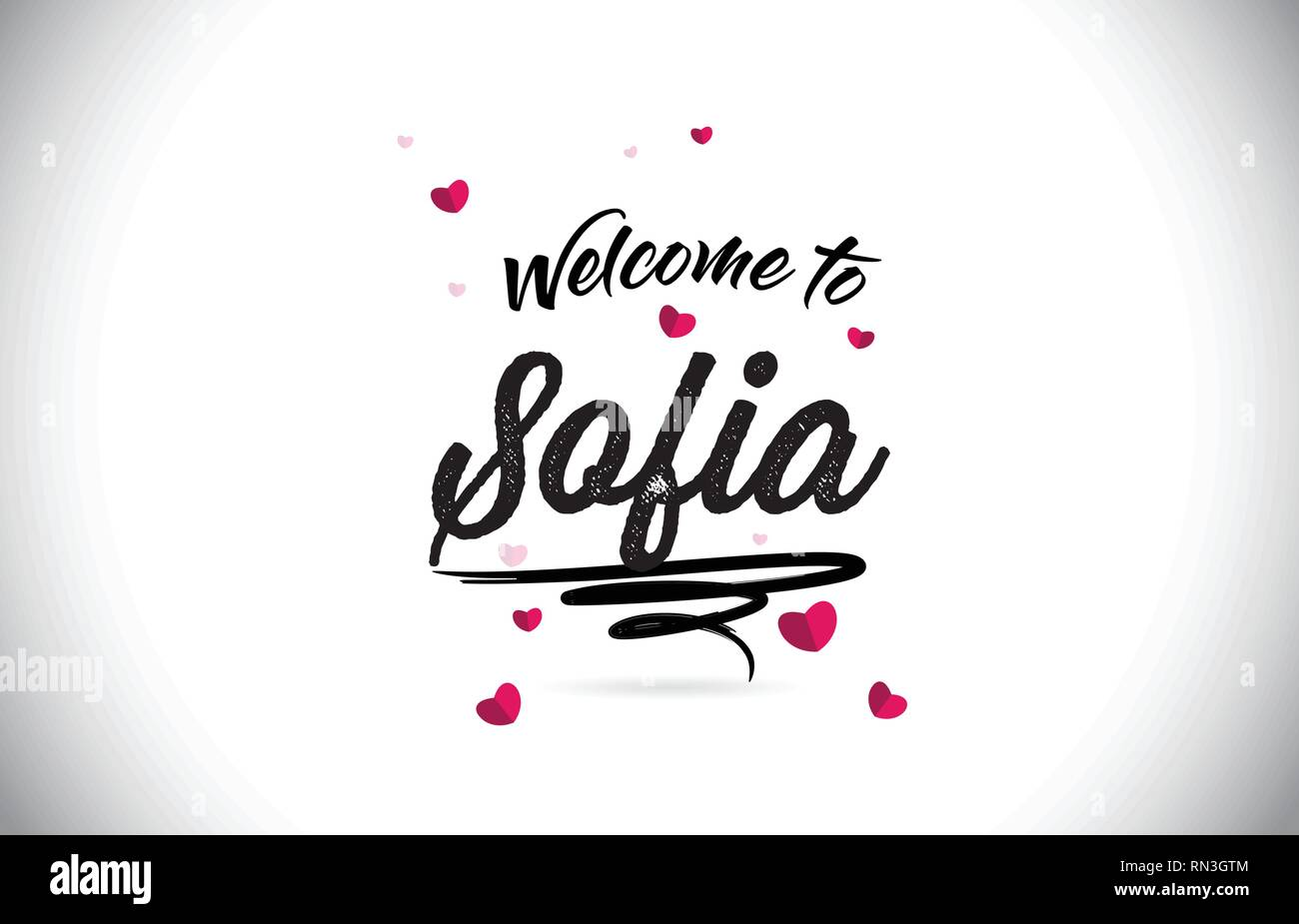 Sofia Welcome To Word Text with Handwritten Font and Pink Heart Shape Design Vector Illustration. Stock Vector
