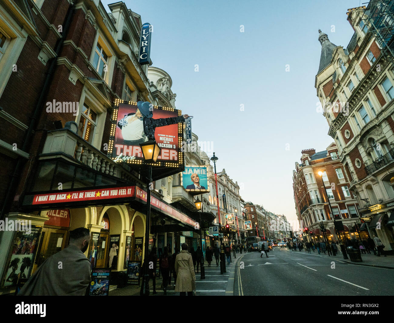 Shaftesbury Avenue, famous for its theatres, London, England - Stock Image