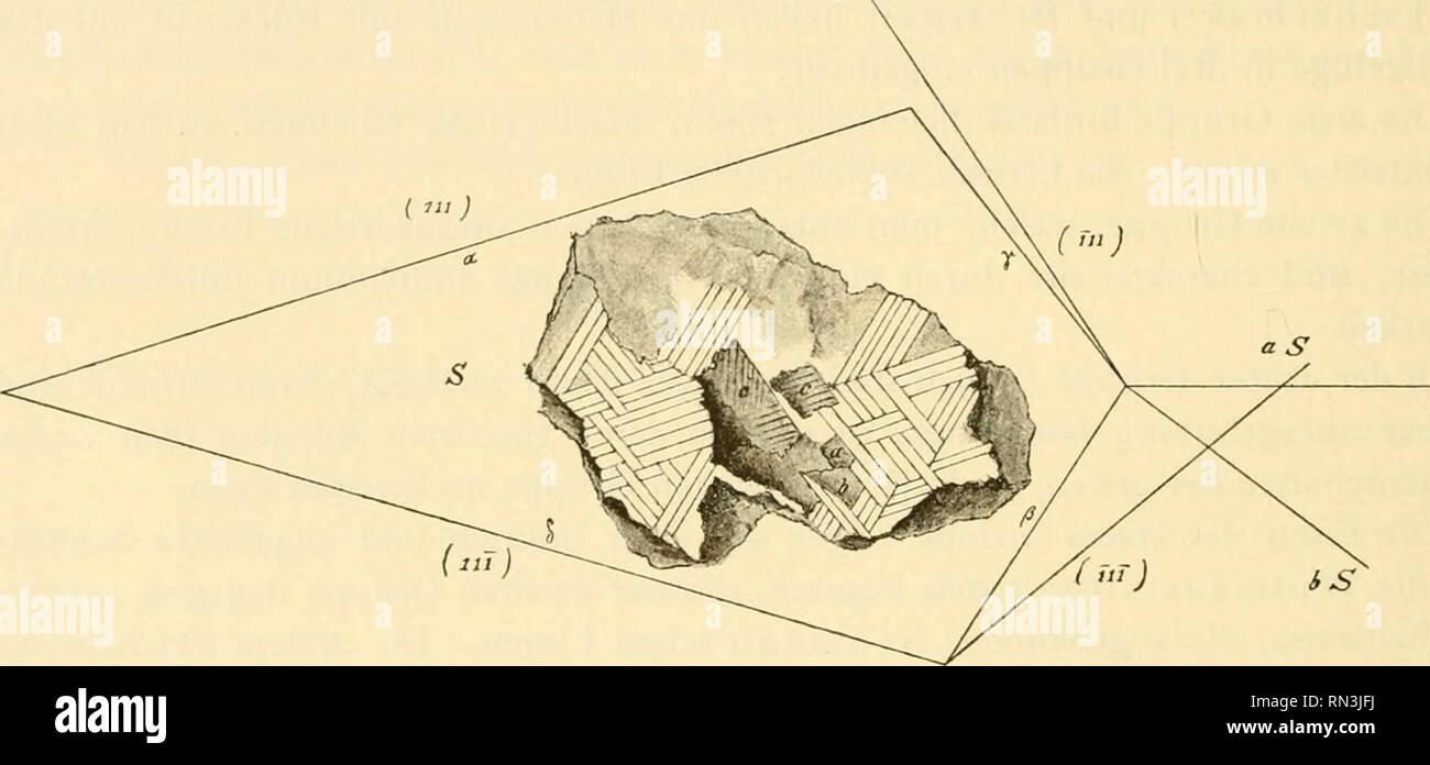 . Annalen des Naturhistorischen Museums in Wien. Naturhistorisches Museum (Austria); Natural history. 114 G. Linck. Wenn wir von dem Aufbau des oktaedrischen Eisens reden, so muss man zu- vörderst des Freiherrn v. Reichenbach') gedenken, w^elcher diesen Bau eingehend studirte und dabei eine überraschende Feinheit der Beobachtung an den Tag legte. In seiner Abhandlung »Ueber das innere Gefüge der näheren Bestandtheile des Meteor- eisens« sind diese Beobachtungen niedergelegt. Ich entnehme denselben, als wichtig für die vorliegenden Untersuchungen, Folgendes: »Das oktaedrische Eisen besteht aus  - Stock Image