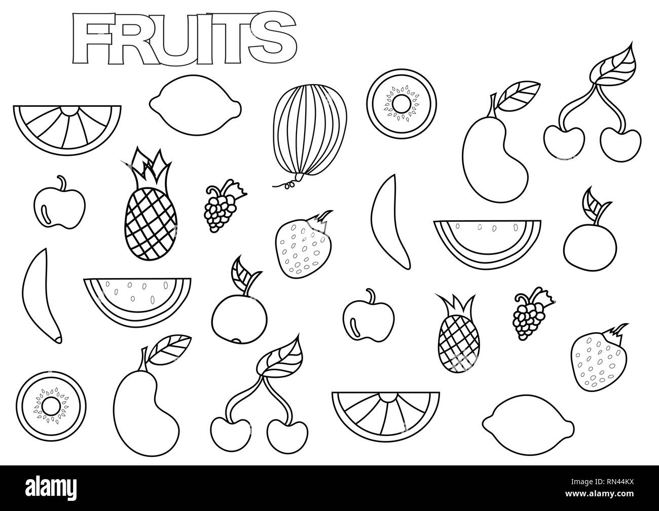 Hand drawn fruits set. Coloring book page template. Outline doodle ...