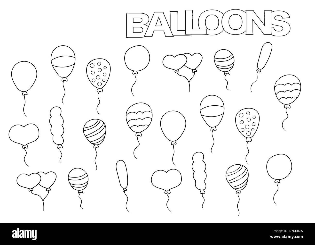 Hand drawn balloons set. Coloring book page template. Outline doodle ...