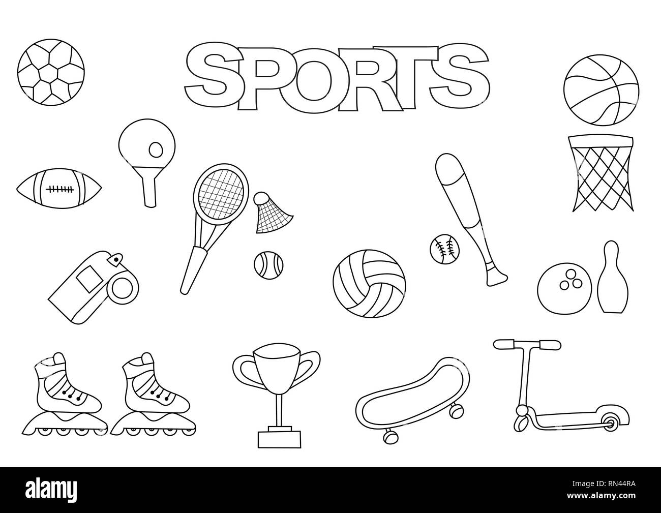 Hand drawn sports set. Coloring book template.  Outline doodle elements vector illustration. Kids game page. - Stock Image