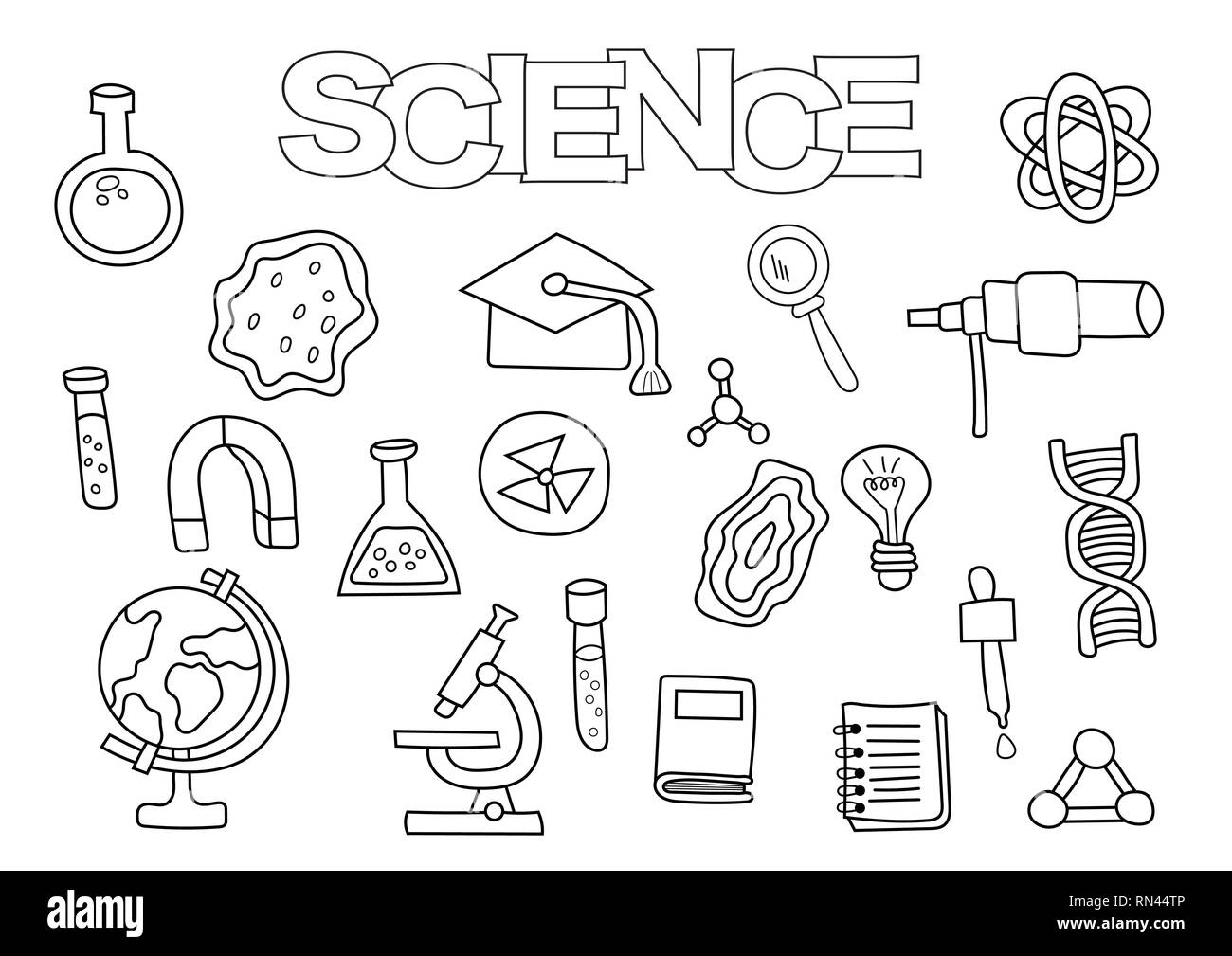Science Elements Hand Drawn Set Coloring Book Template