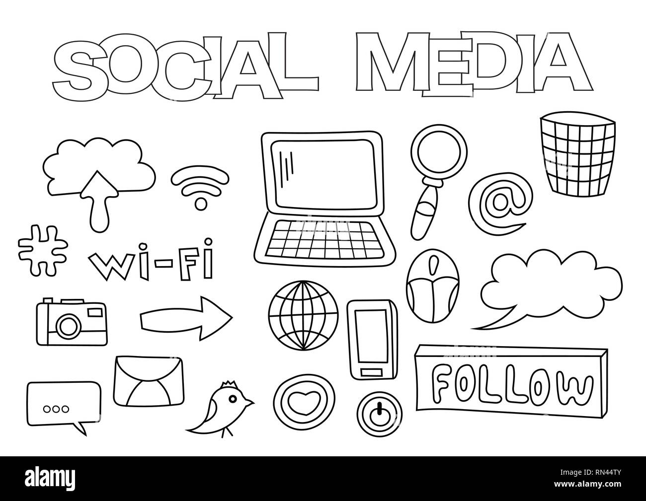 Social Media Elements Hand Drawn Set Coloring Book Template