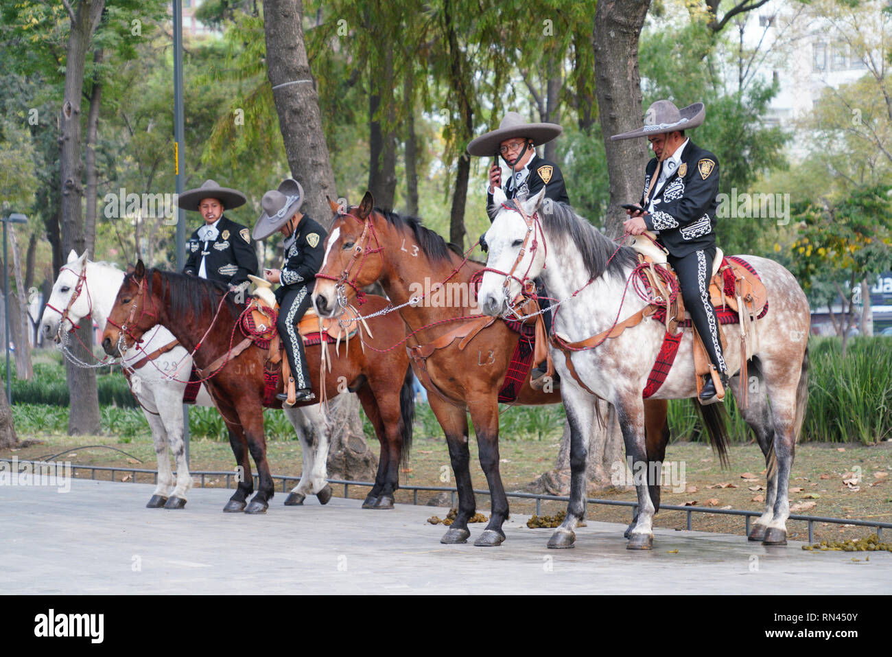 Mounted police in Alameda Central Park in Mexico City - Stock Image