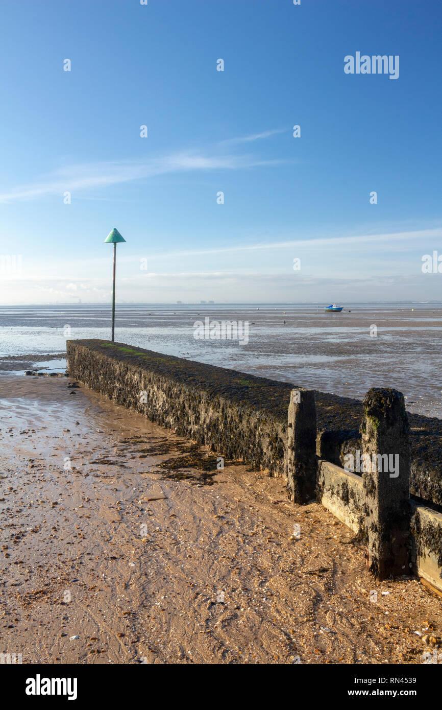 Breakwater on Thorpe Bay beach near Southend-on-Sea, Essex, England Stock Photo