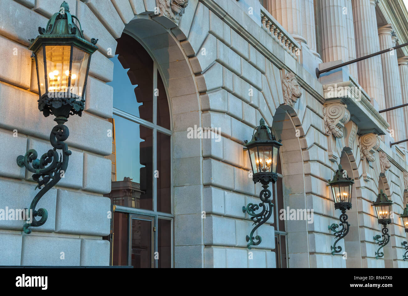 Beautiful wall sconces at the War Memorial Opera House in San Francisco,California, United States. - Stock Image