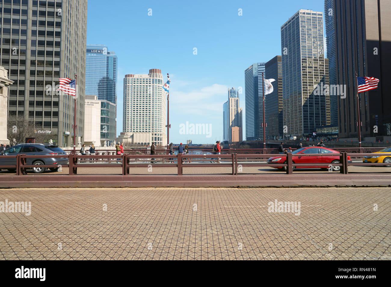 CHICAGO, IL - CIRCA MARCH, 2016: DuSable Bridge in the daytime. DuSable Bridge is a bascule bridge that carries Michigan Avenue across the main stem o - Stock Image