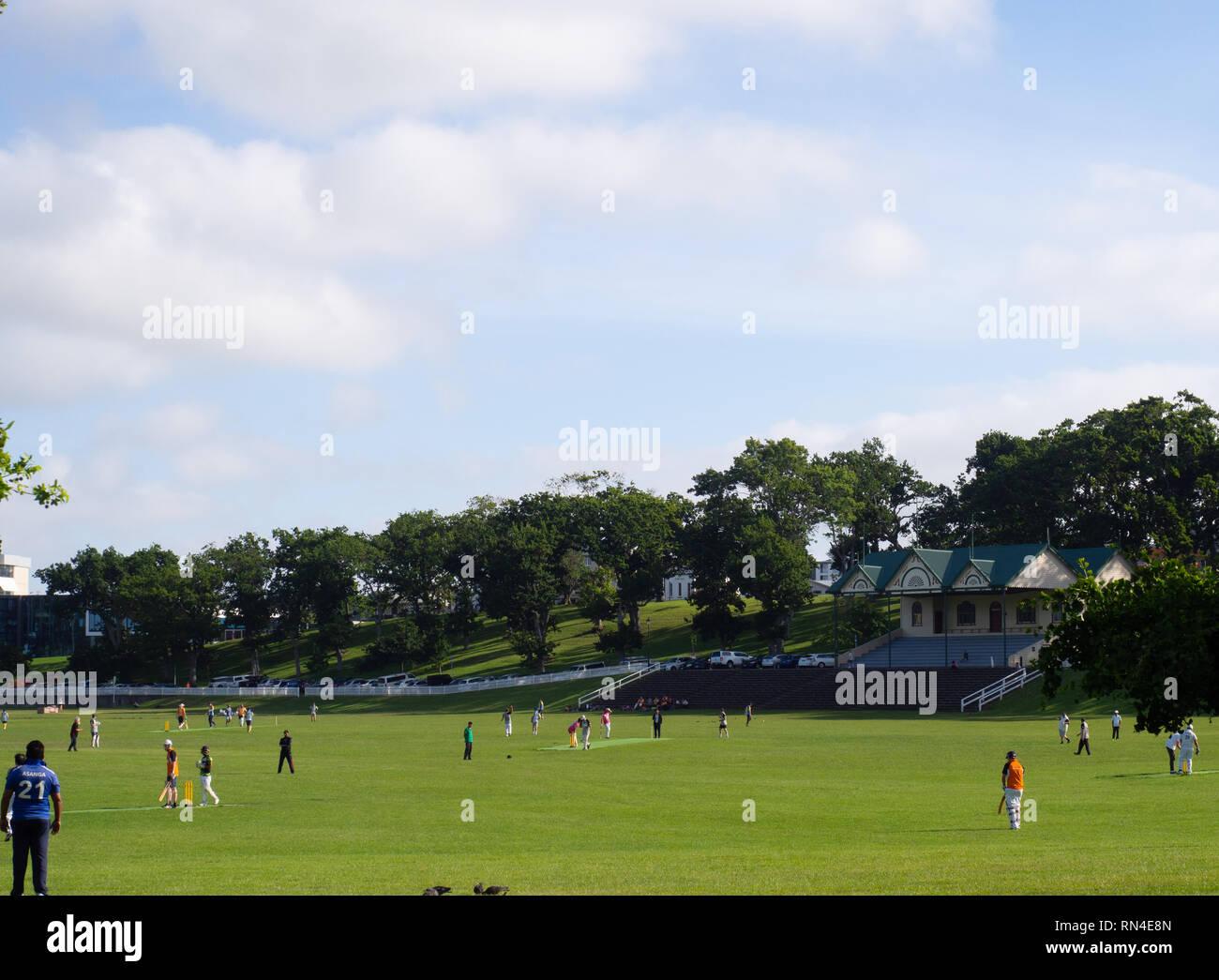 A Social Cricket Game In Progress - Stock Image