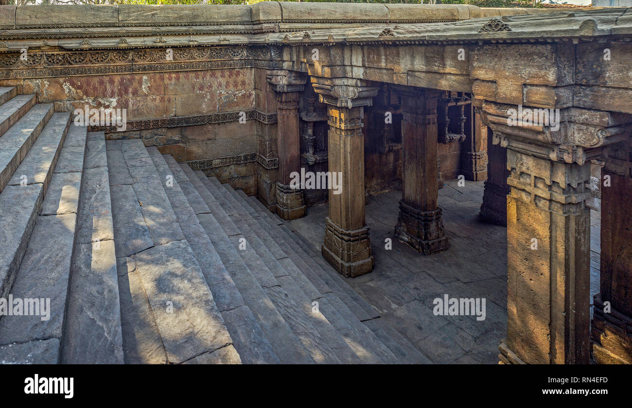17-Jan-2017-heritage architecture-Dada Harir ni Vav (Stepwell) Asarwa area of Ahmedabad, Gujarat, India. asia - Stock Image