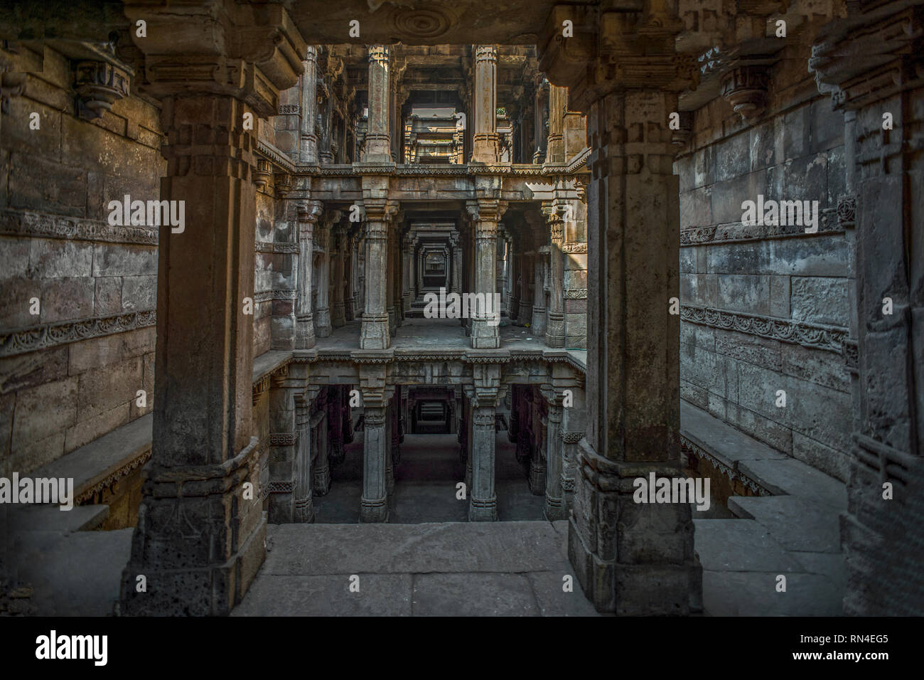 17-Jan-2017-heritage architecture-Dada Harir Stepwell Asarwa area of Ahmedabad, Gujarat, India. asia Stock Photo