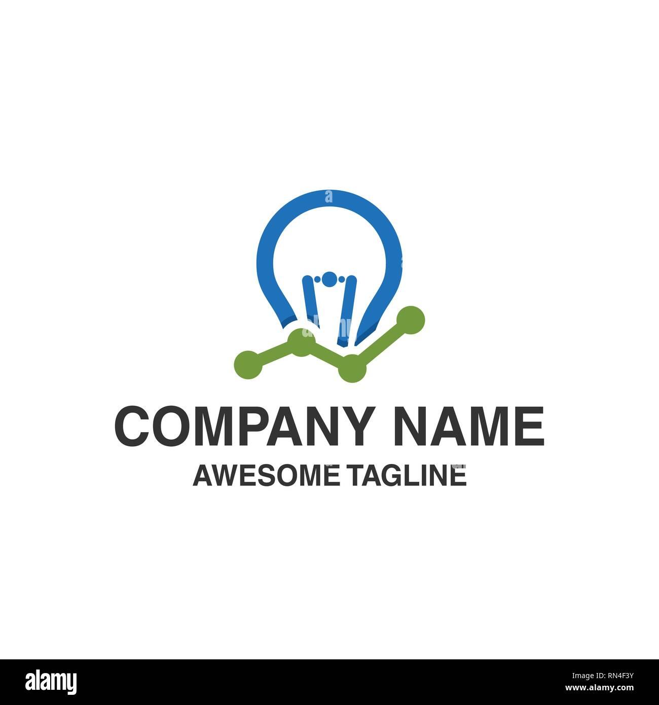 bulb lamp financial logo. bar chart marketing symbol. innovation idea. logo template ready for use - Stock Image
