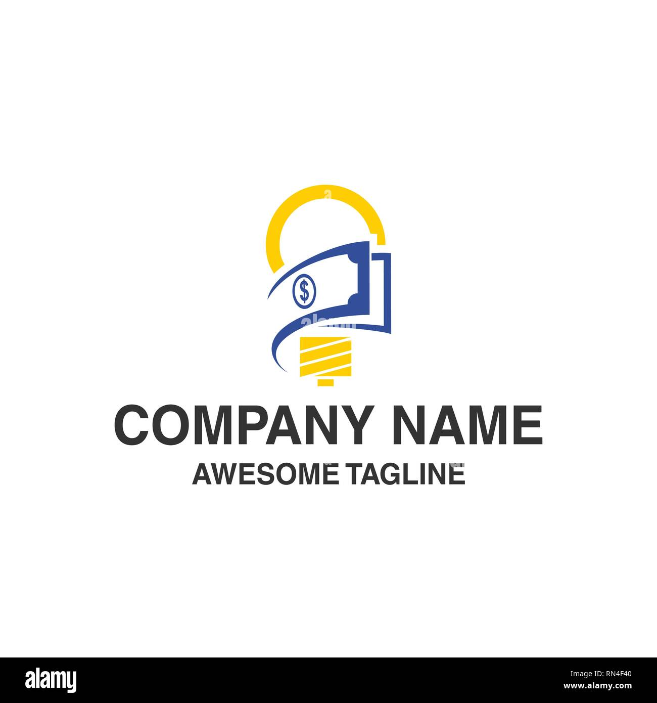 bulb lamp with money logo. innovations idea financial symbol. logo template ready for use - Stock Image