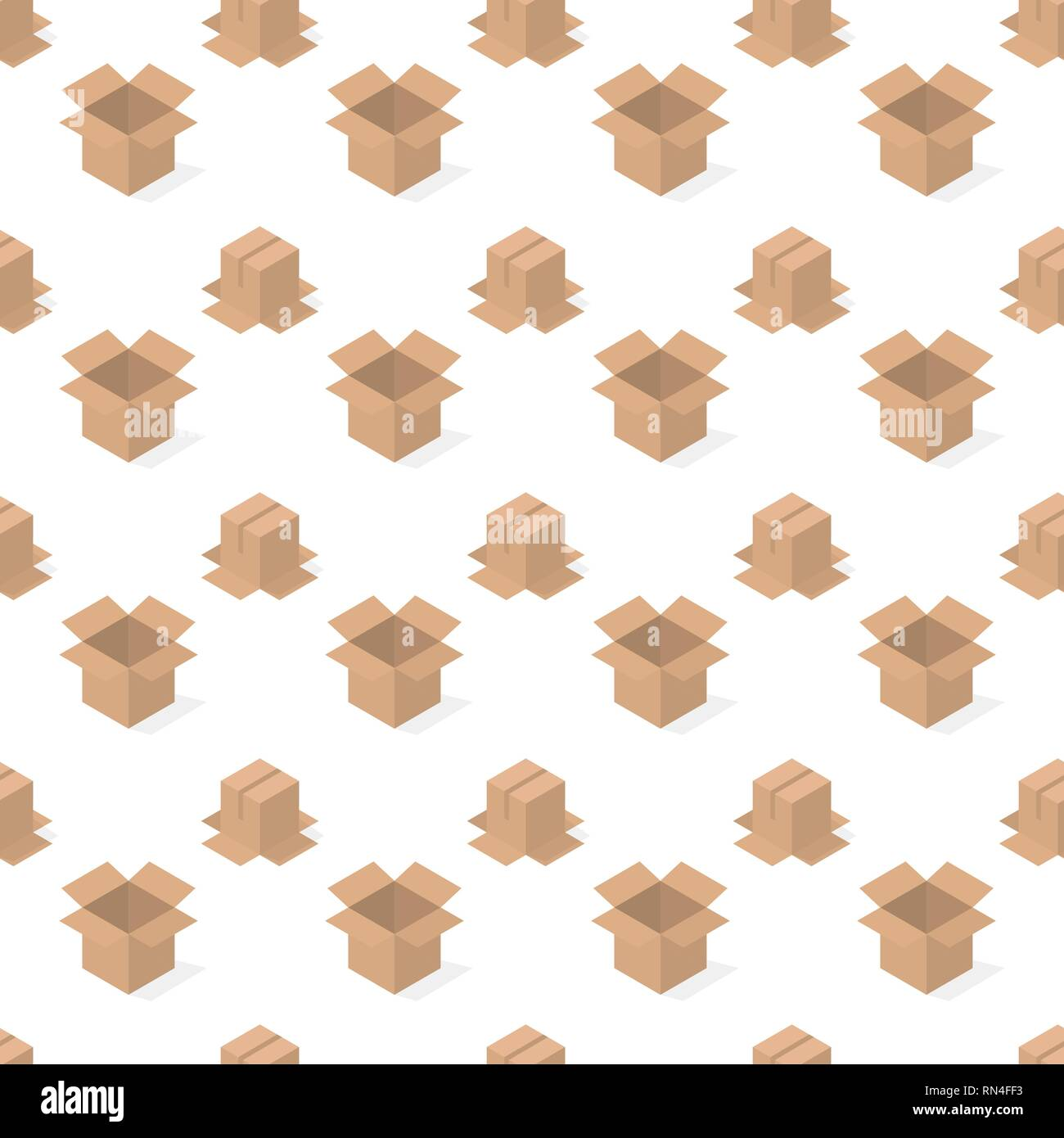 Seamless background from a set of 3D cardboard boxes, vector illustration. - Stock Vector