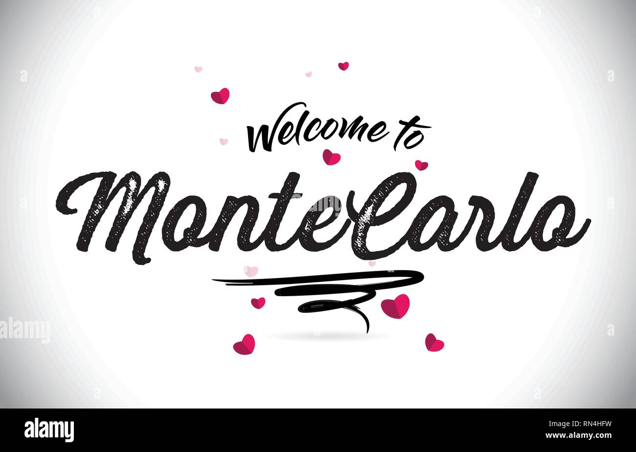 MonteCarlo Welcome To Word Text with Handwritten Font and Pink Heart Shape Design Vector Illustration. - Stock Vector