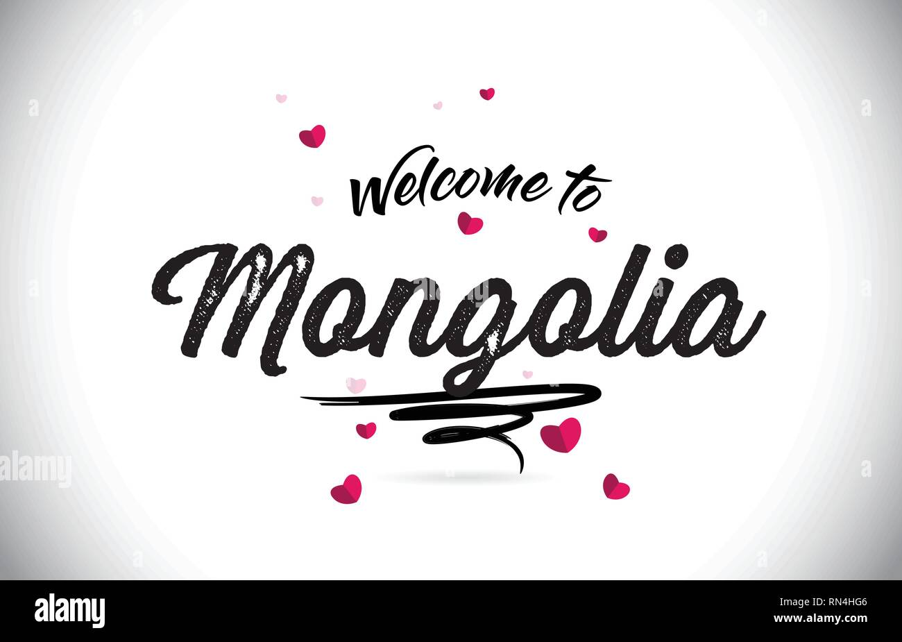Mongolia Welcome To Word Text with Handwritten Font and Pink Heart Shape Design Vector Illustration. - Stock Vector