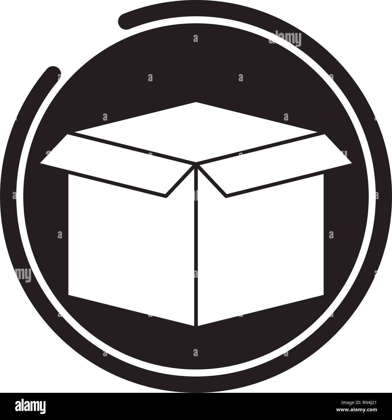 cardboard box storage - Stock Vector