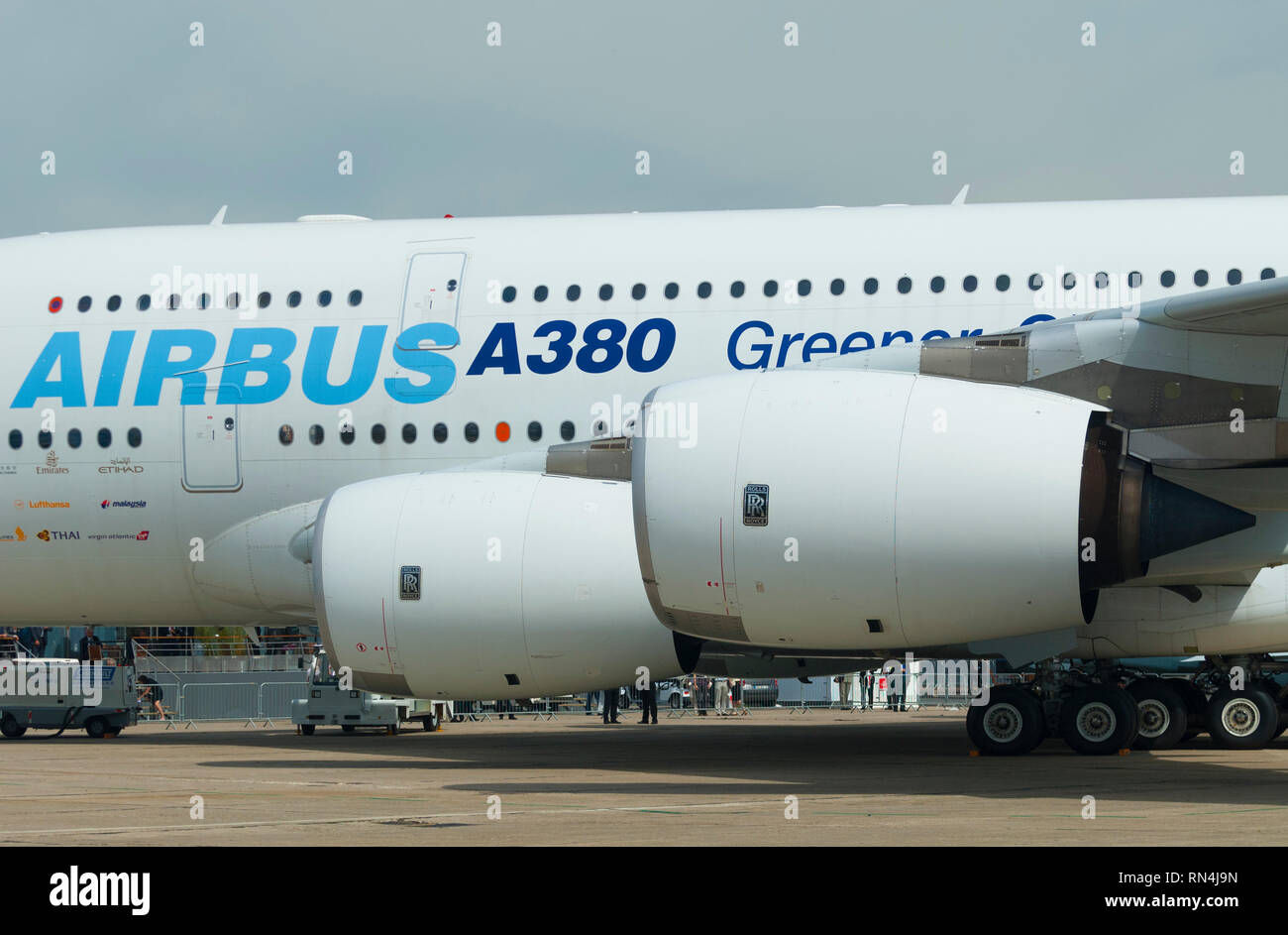 France, Seine Saint denis (93), Paris-Le Bourget airport, International Paris Air Show 2009, Airbus A380 with Rolls Royce Trent 900 motors - Stock Image
