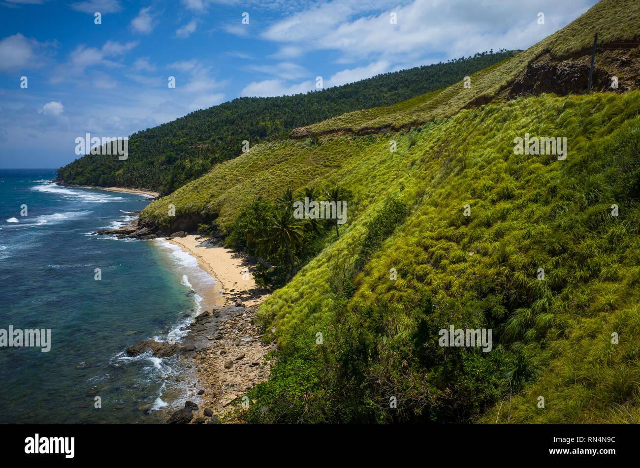 Mountain landscape with green coastal hills in Romblon, Philippines - Stock Image