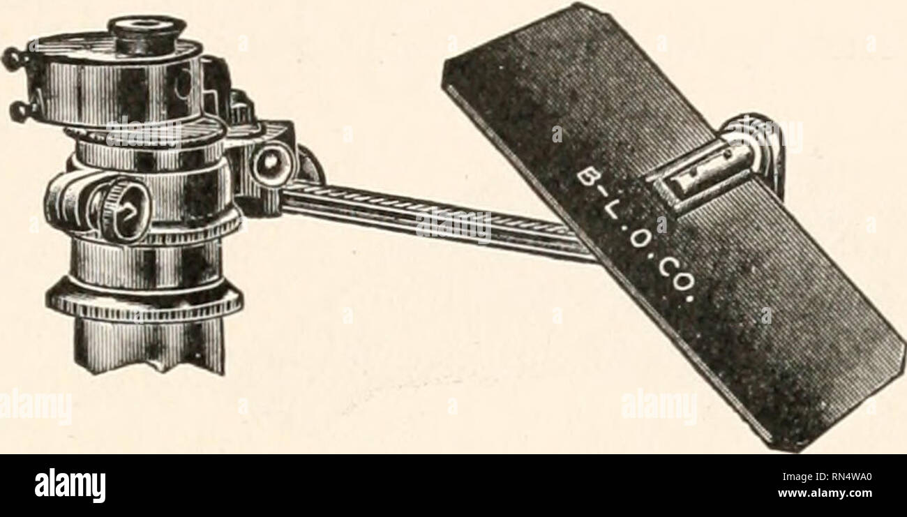 . Animal micrology; practical exercises in microscopical methods. Microscopy -- Technique; Microscopes -- Technique. FIG. 60.—Simple Camera, Lucida. FIG. 61.—Camera Lucida, Abbe. form a cube (Fig. 61). The lower one of the prisms is silvered along its cemented surface although a small central opening is left through which the object under the microscope may be viewed; connected with the cap is an arm which bears a mirror and this mirror may be so adjusted as to reflect the image of the drawing-paper on the table on to the prisms from one side. The prisms are so set that the silvered surface of - Stock Image