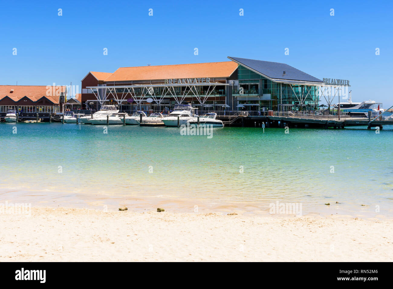 The soft sand beach at Sorrento Quay, Hillarys Boat Harbour, Hillarys, Western Australia - Stock Image