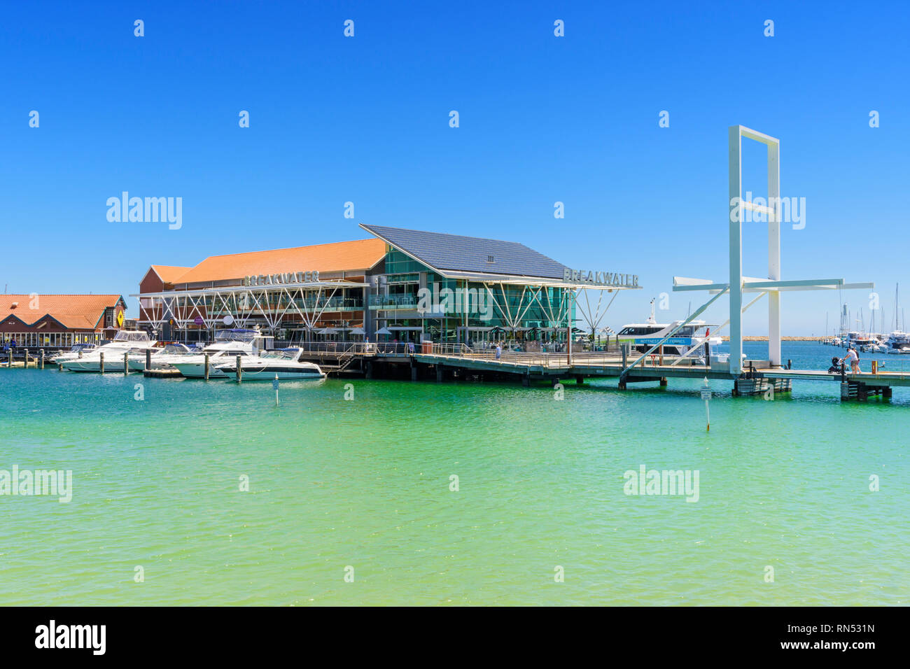 The Breakwater Tavern at Sorrento Quay, Hillarys Boat Harbour, Hillarys, Western Australia - Stock Image