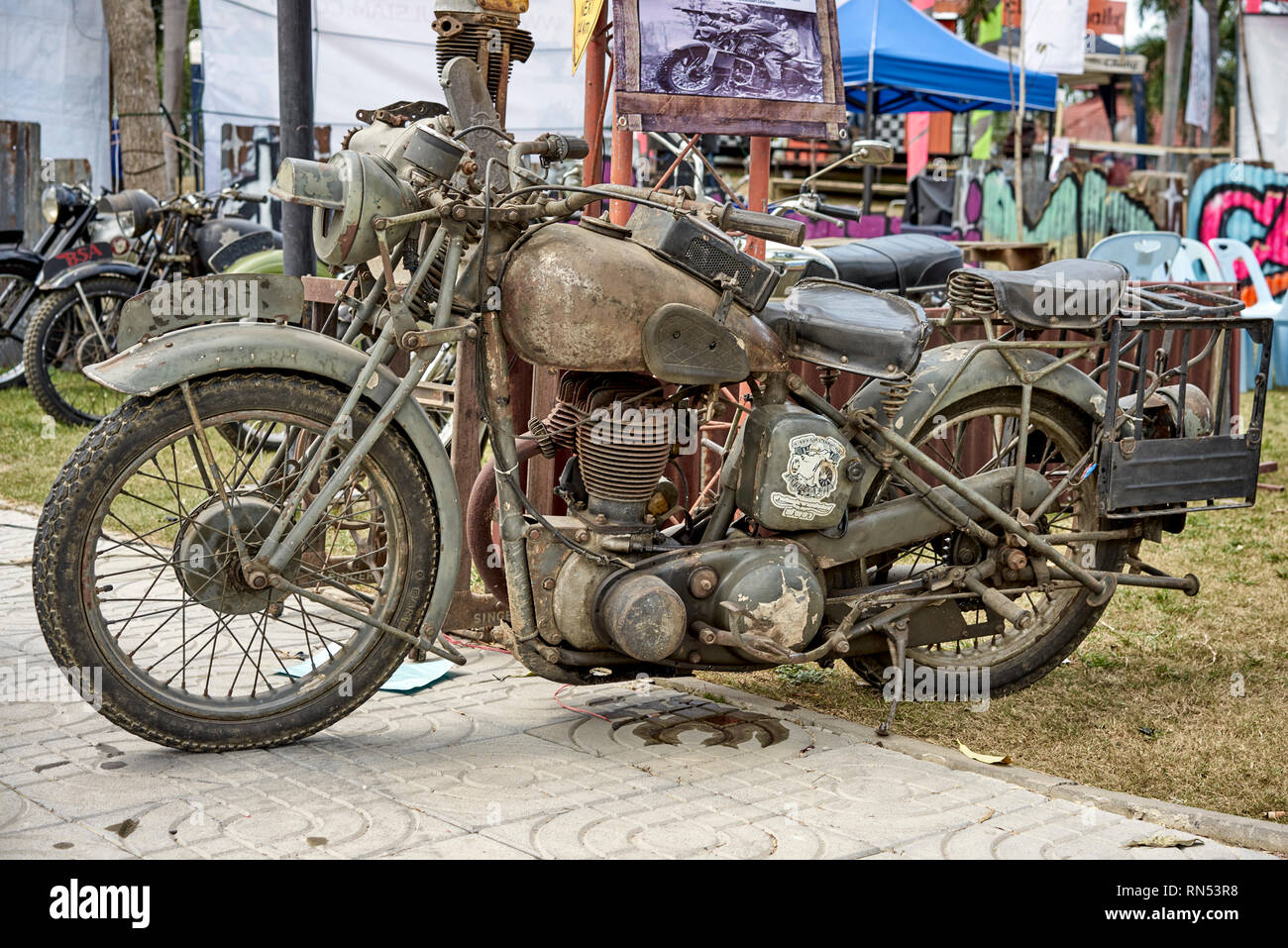 BSA M20 1940's military motorcycle used by both the British Army and USA Army in WW11 - Stock Image