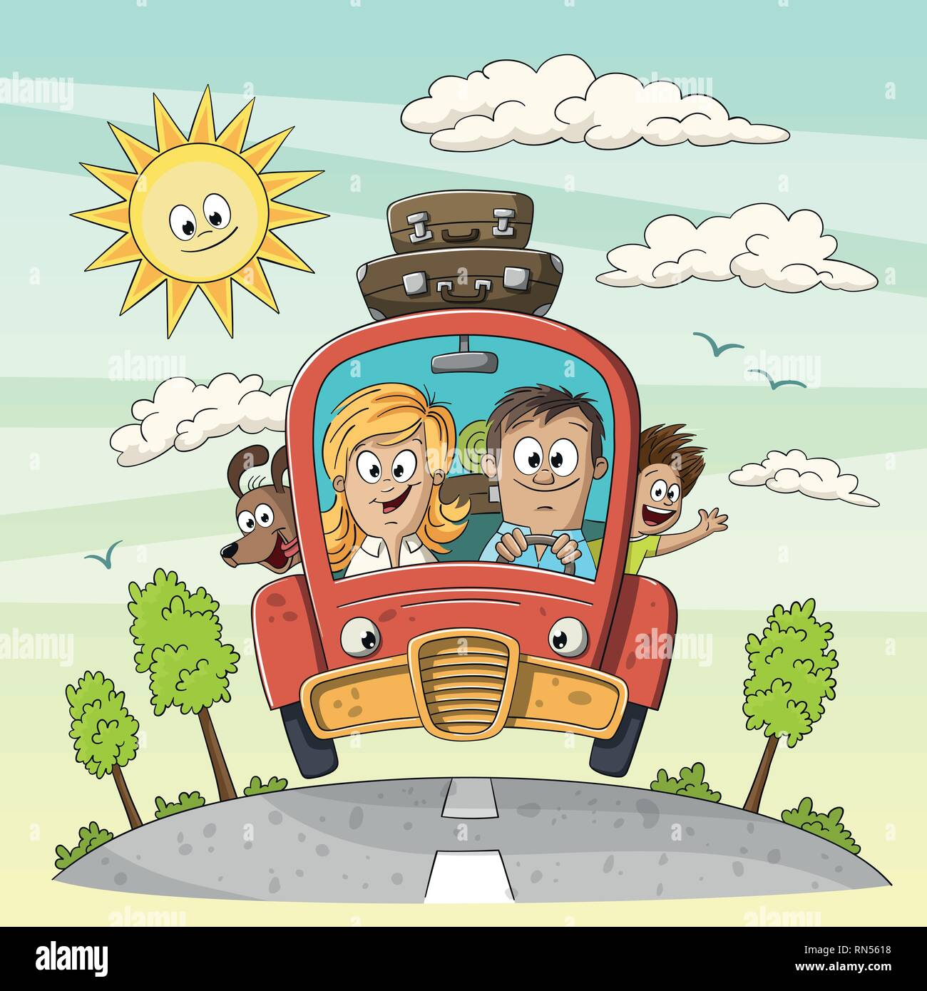 Young family goes on vacation with dog an suitcases on the car roof. Vector Illustration with separate layers.  - Stock Vector