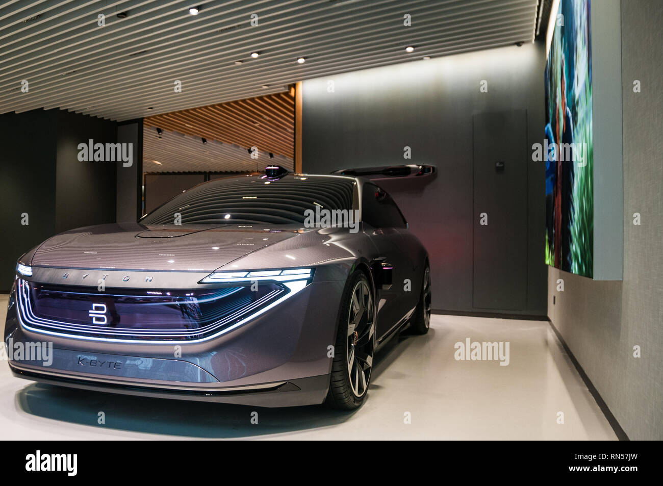 The Byton K-Byte Concept on display in the very first Byton Place concept store in Shanghai, China. - Stock Image